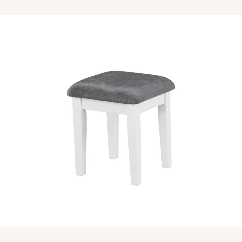 Vanity Set In White Wood & Dark Grey Upholstery - image-2