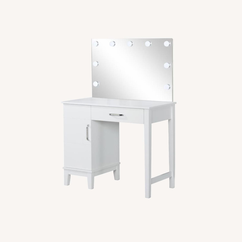 Vanity Set In White Wood & Dark Grey Upholstery - image-5