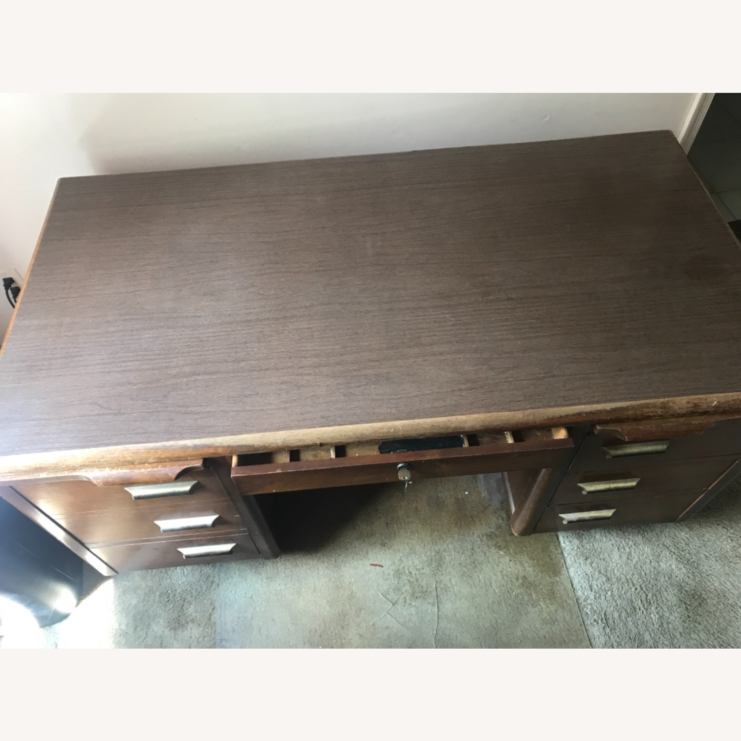 Wooden Desk with Locking Central Drawer - image-2