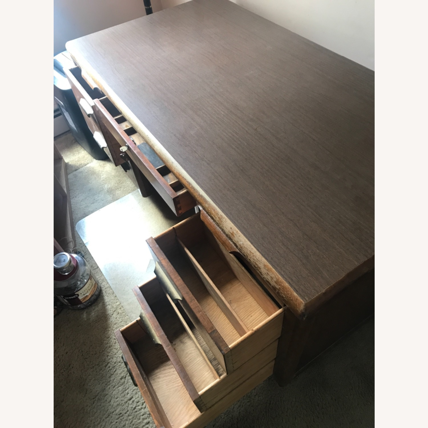 Wooden Desk with Locking Central Drawer - image-1