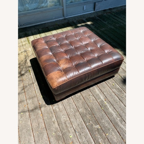 Used Crate & Barrel Distressed Leather Ottoman for sale on AptDeco