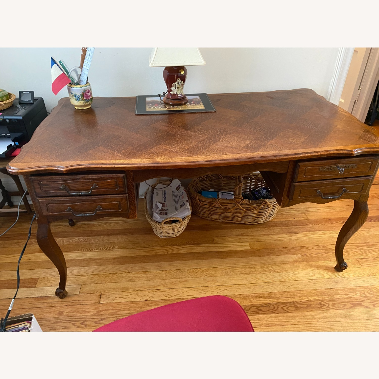 French Provincial Louis XV style Desk Cherry Wood - image-1