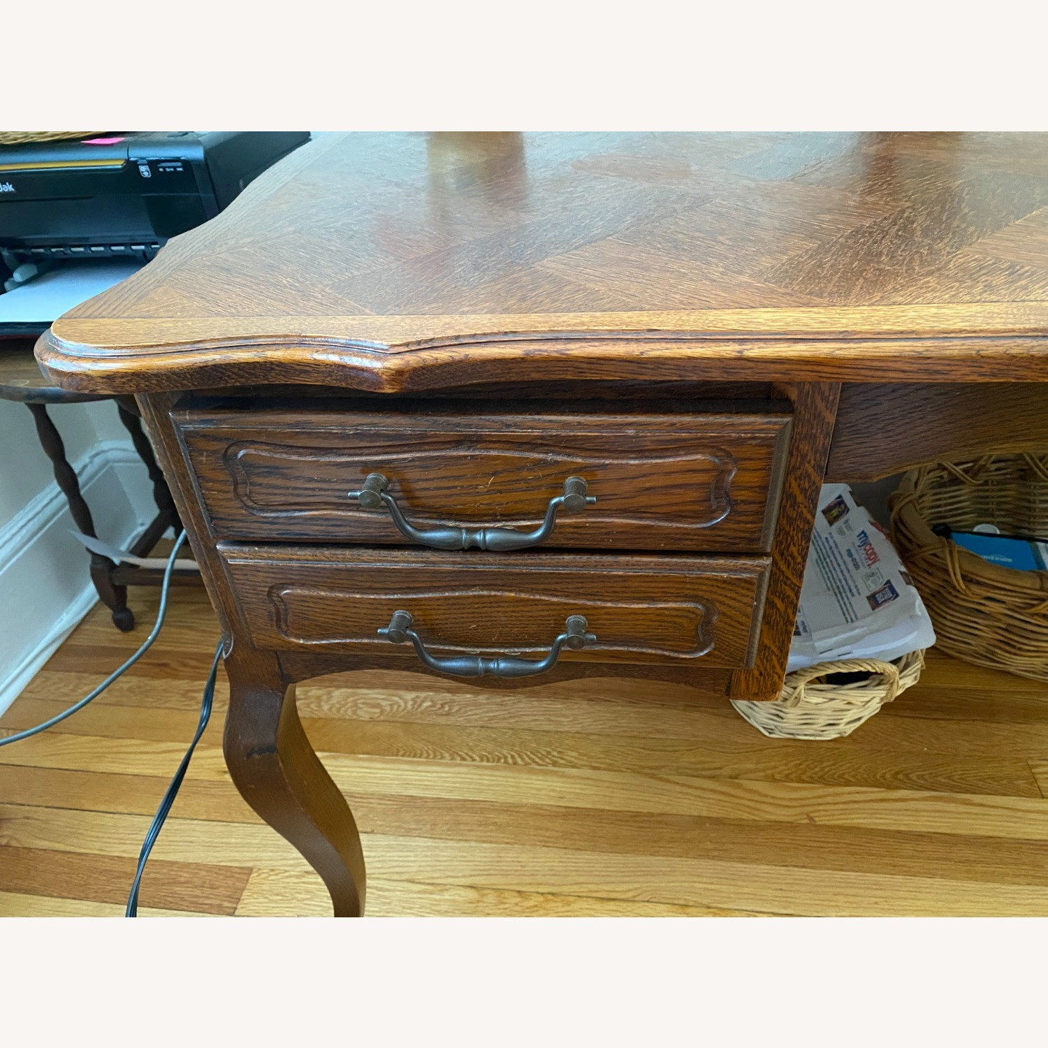 French Provincial Louis XV style Desk Cherry Wood - image-4