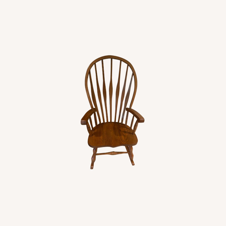 Solid Oak Windsor Rocking Chair - image-0