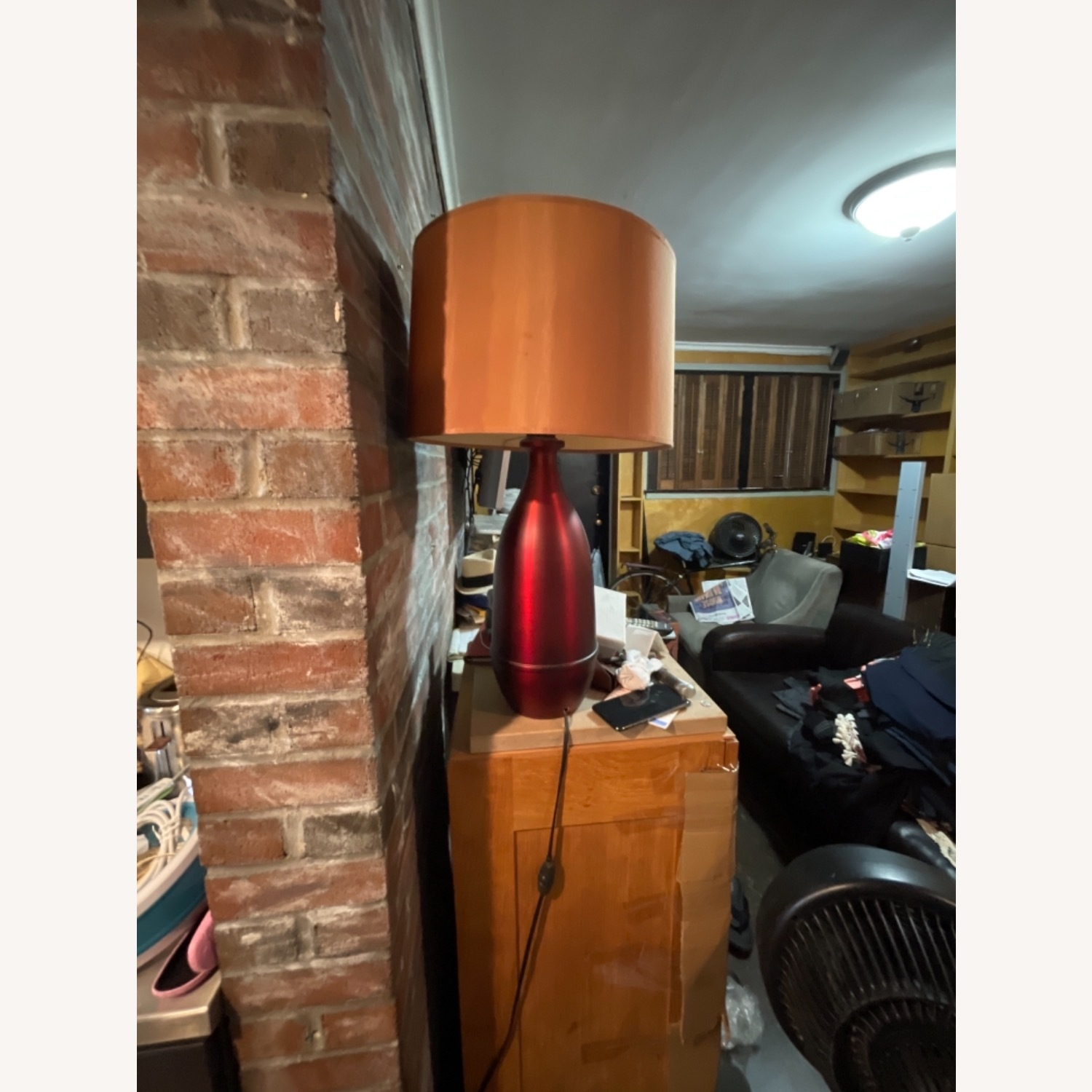 Red Metal Table Lamp with Shade - image-2
