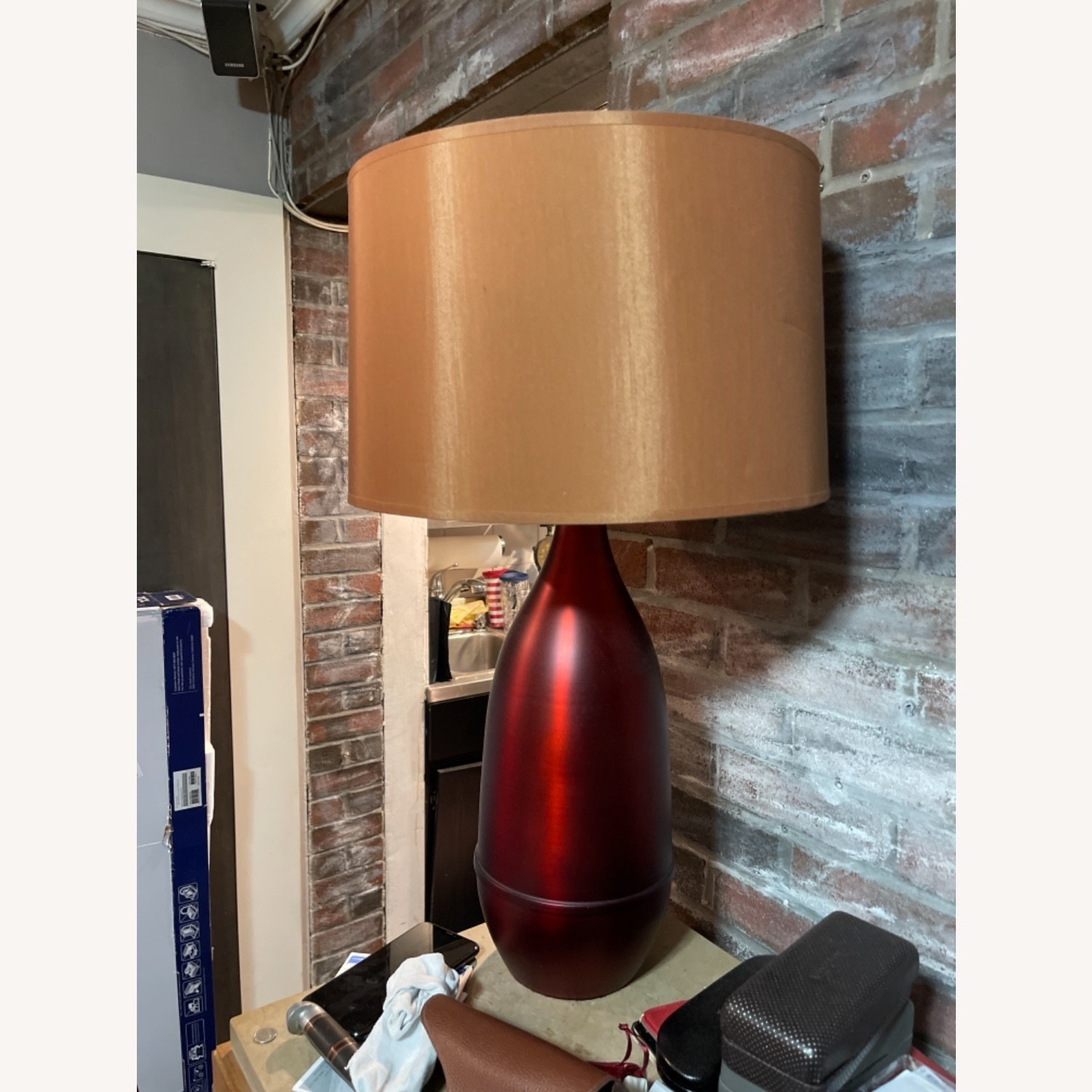 Red Metal Table Lamp with Shade - image-3