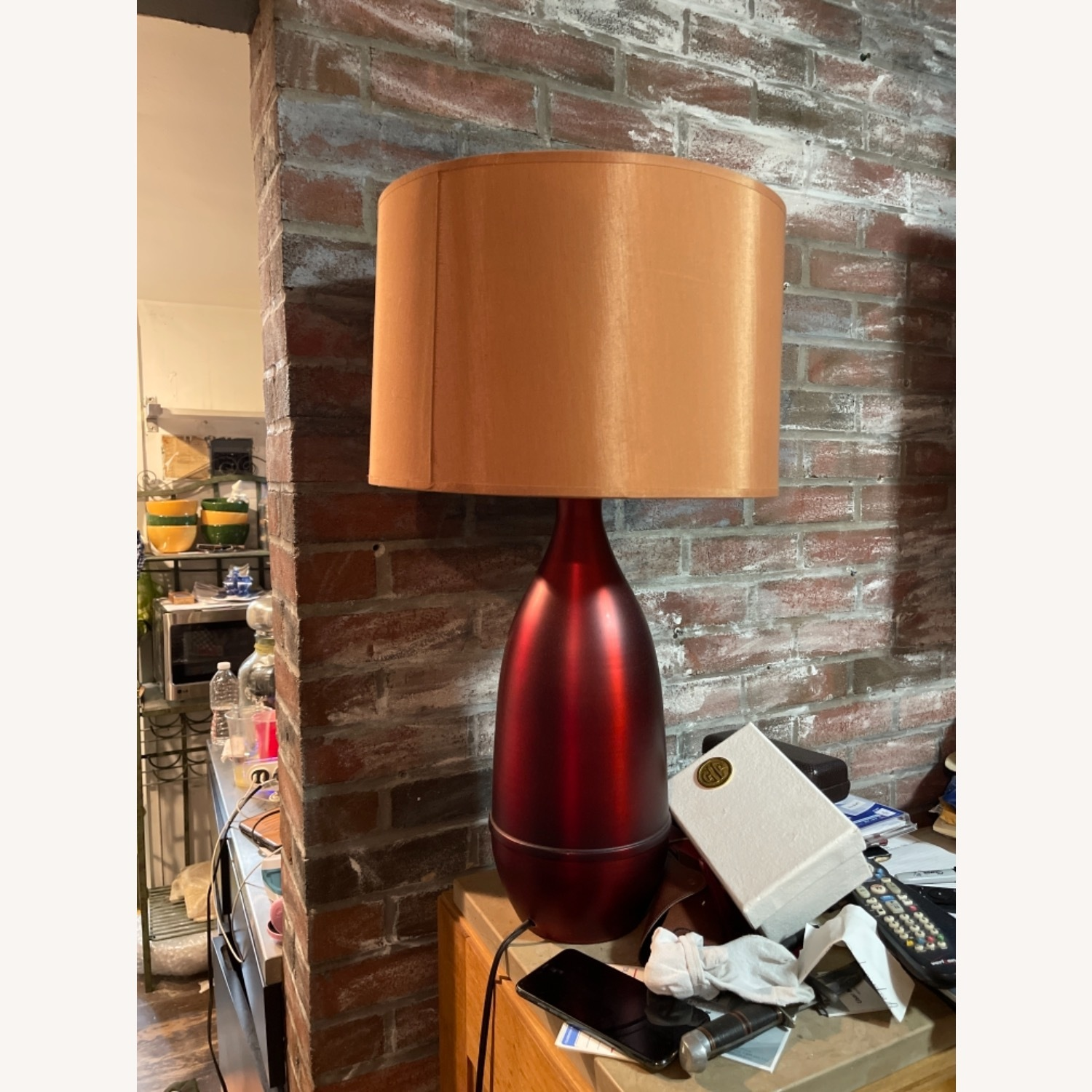 Red Metal Table Lamp with Shade - image-1