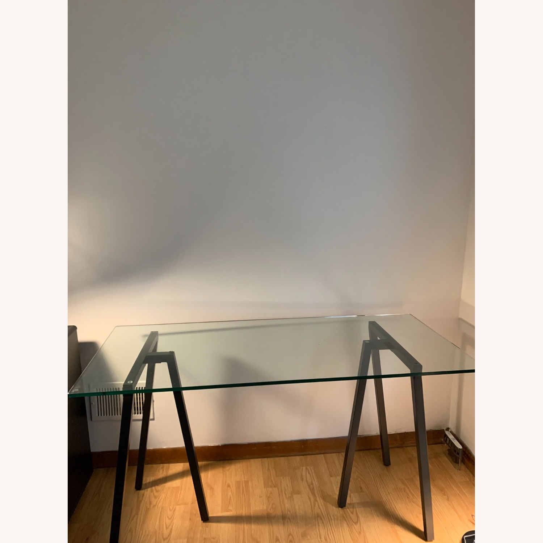 West Elm Glass Sawhorse Desk - image-0