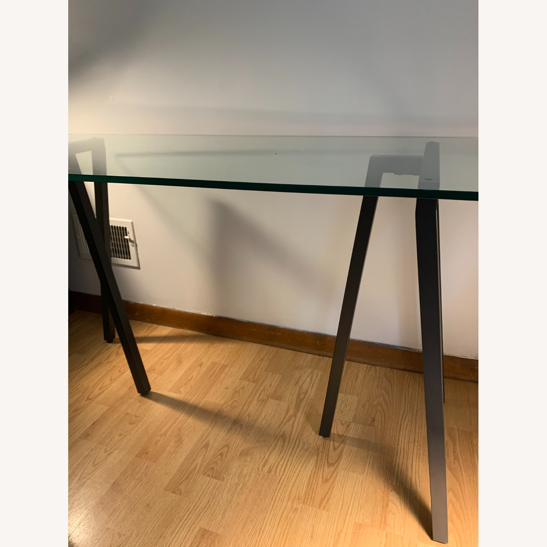West Elm Glass Sawhorse Desk - image-2