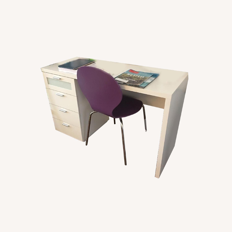 White Desk w/ Drawers - image-0