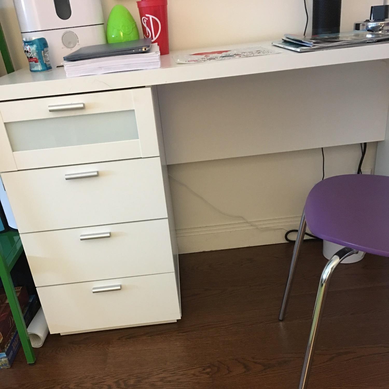 White Desk w/ Drawers - image-4