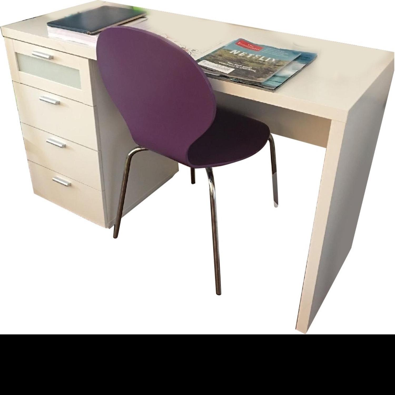 White Desk w/ Drawers - image-1