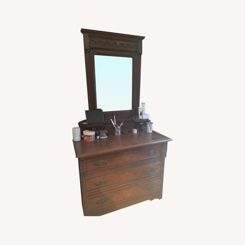 Antique 3 Drawer Dresser w/ Mirror - image-0