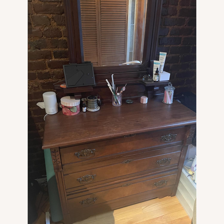 Antique 3 Drawer Dresser w/ Mirror - image-5