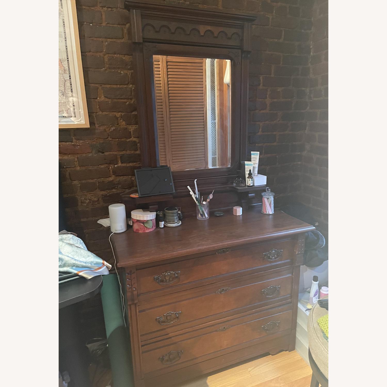 Antique 3 Drawer Dresser w/ Mirror - image-1
