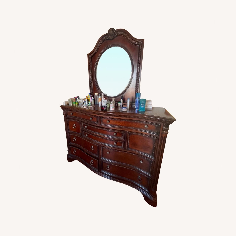 Antique Original Wood Dresser / Mirror - image-0