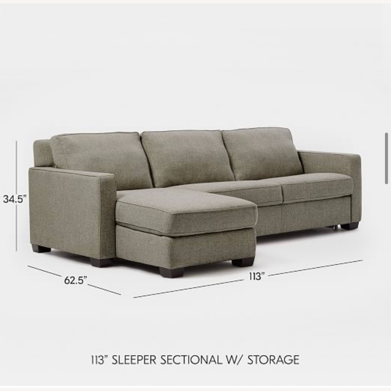 West Elm Henry Sleeper Sofa with Storage Chaise - image-2