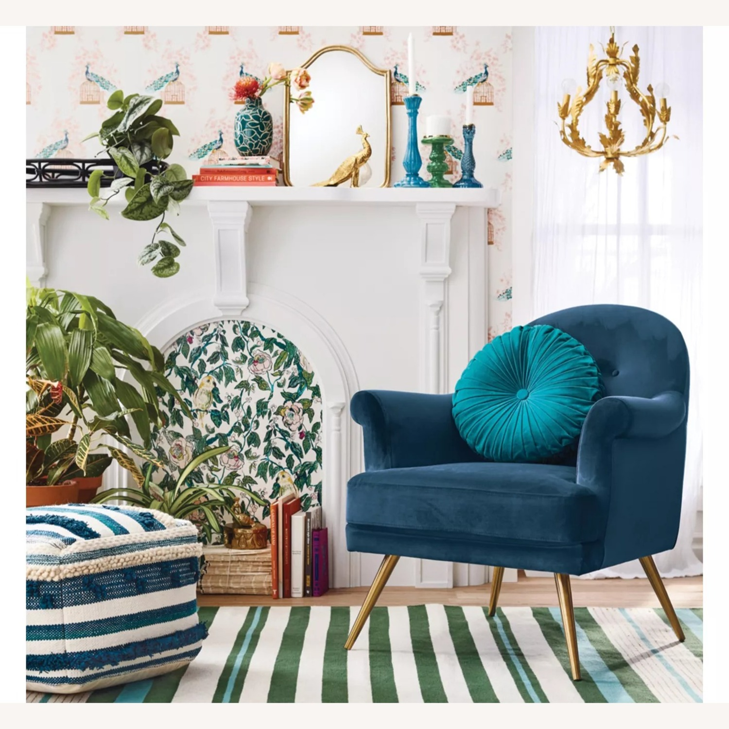 Target Teal Green Striped Woven Rug 7 x 10 - image-0