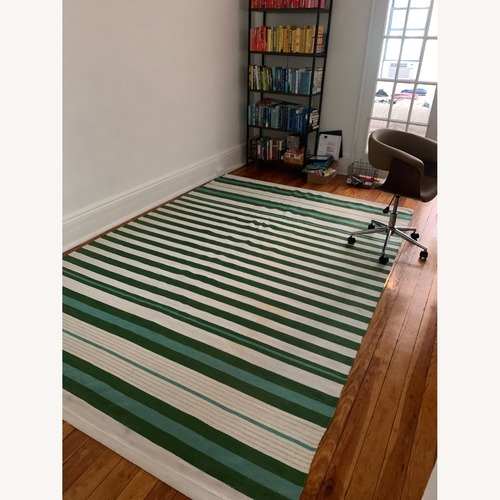 Used Target Teal Green Striped Woven Rug 7 x 10 for sale on AptDeco