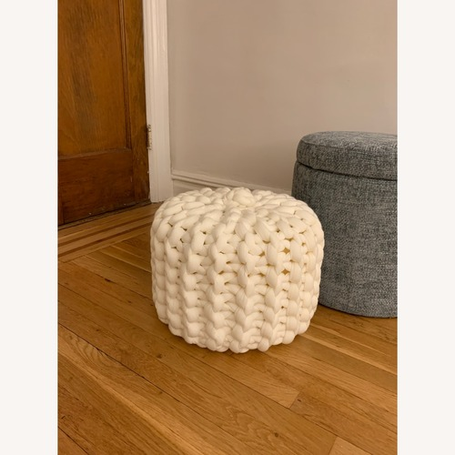 Used Custom-made Chunky Knit Pouf Ottoman for sale on AptDeco