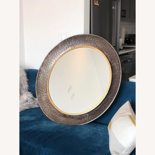 Used Wayfair Round Silver Metal Framed Accent Mirror for sale on AptDeco