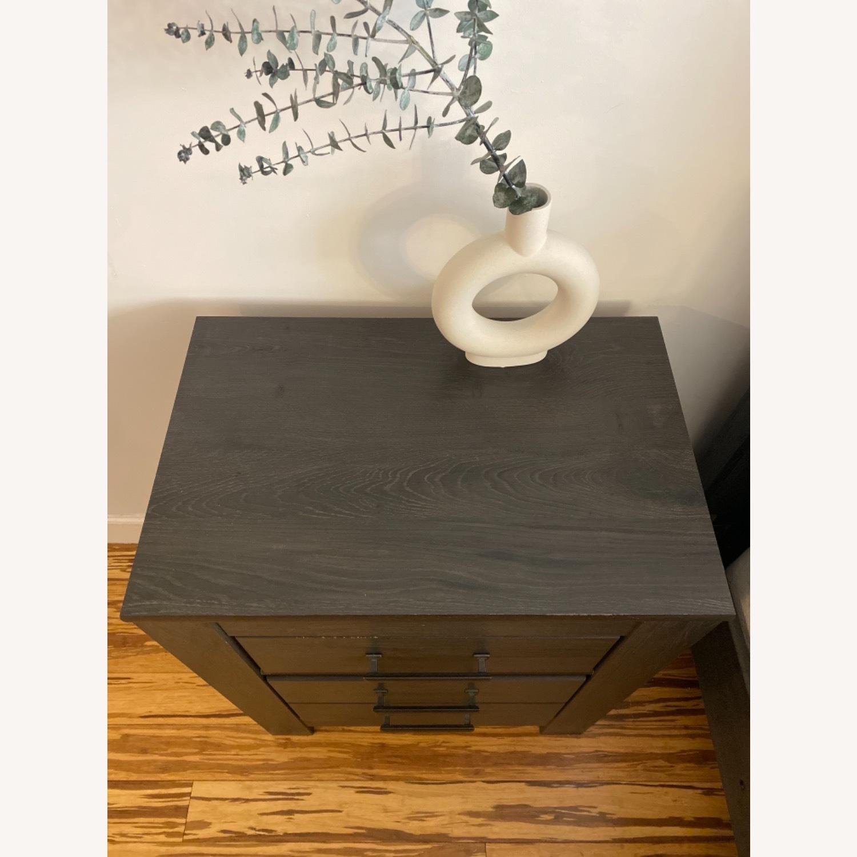 Ashley Furniture Dark Wood Nightstand with Metal Handles - image-5