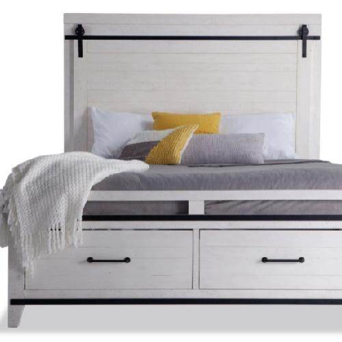 Used Bob's Discount Furniture Montana Queen White Storage Bed for sale on AptDeco