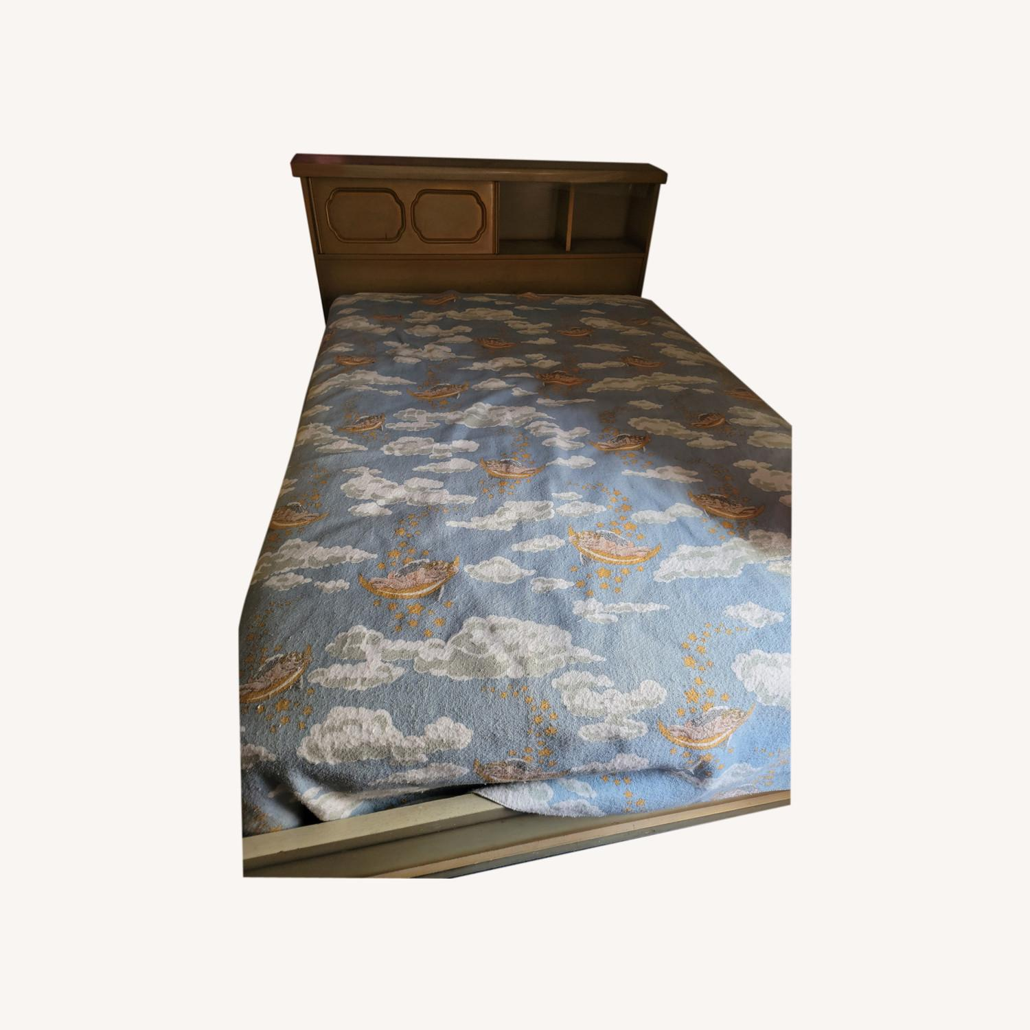 Wood Bed Frame with Slidable Head Board - image-0