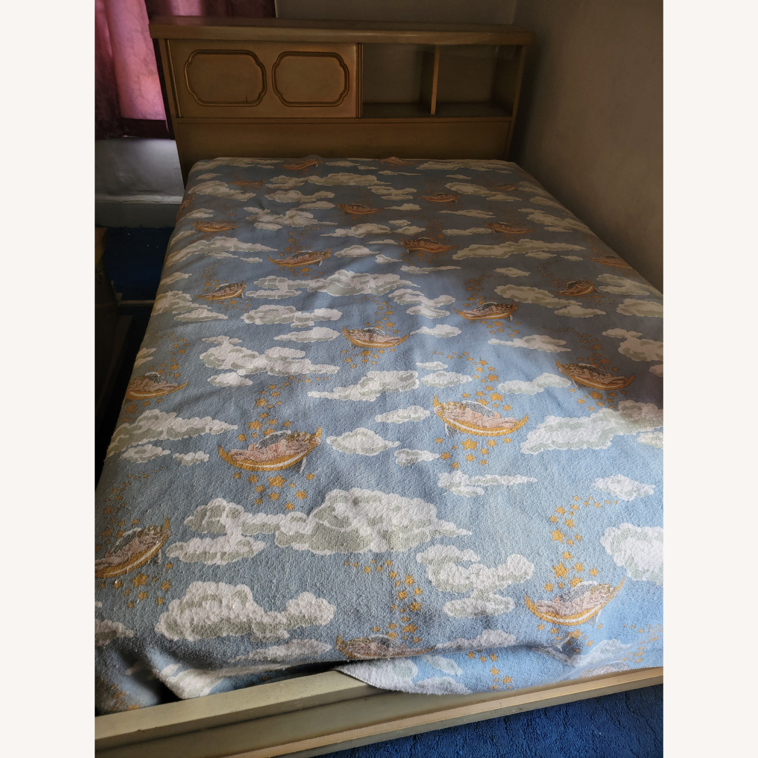 Wood Bed Frame with Slidable Head Board - image-1