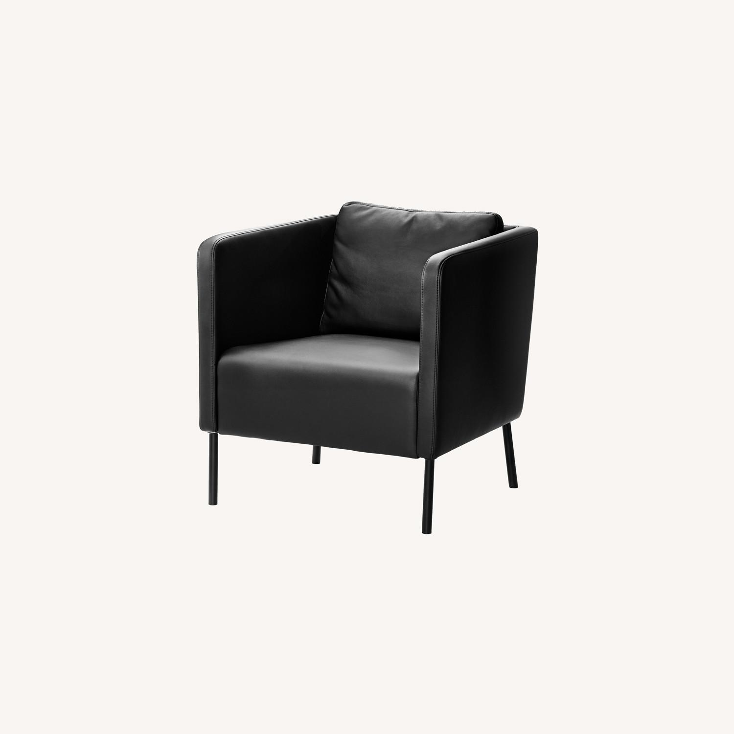 IKEA Black Leather Chair - image-0
