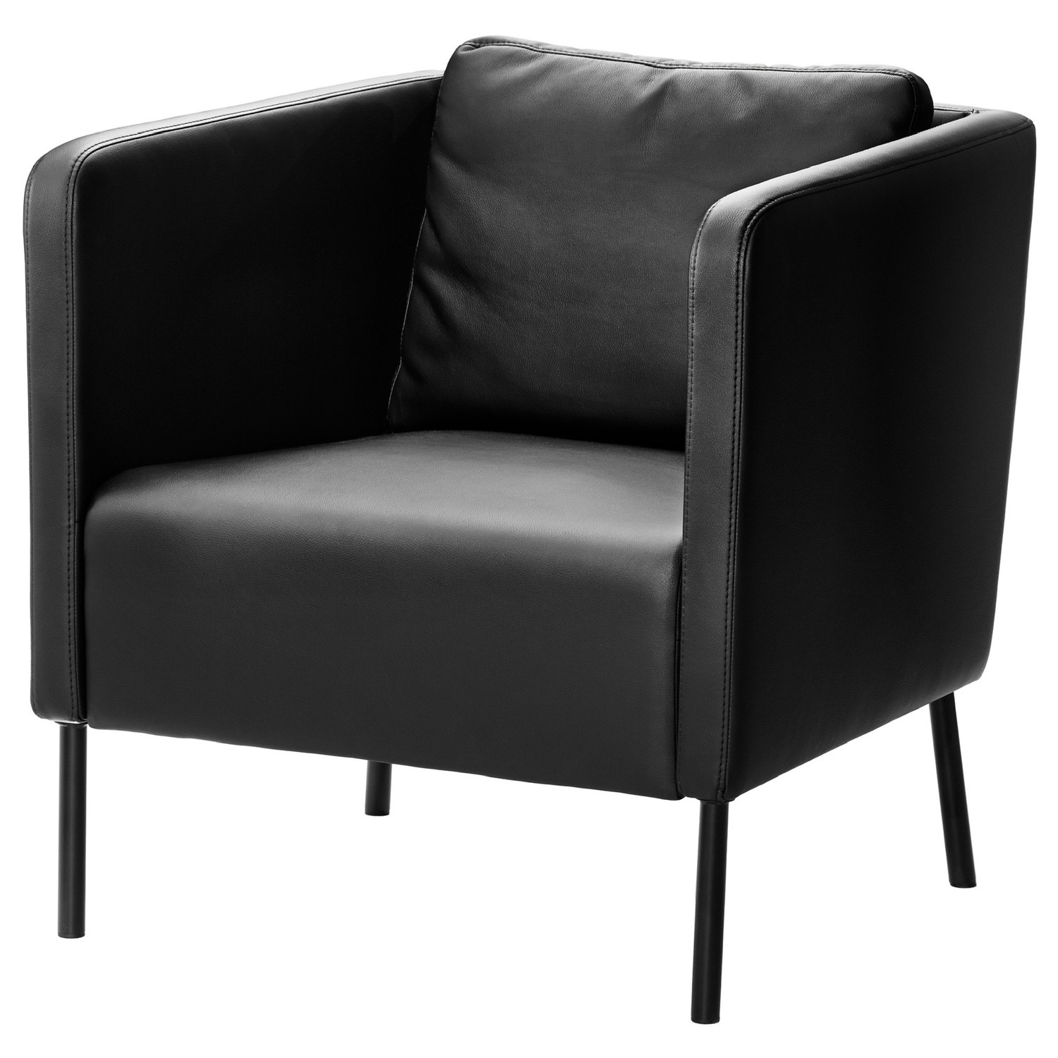 IKEA Black Leather Chair - image-1