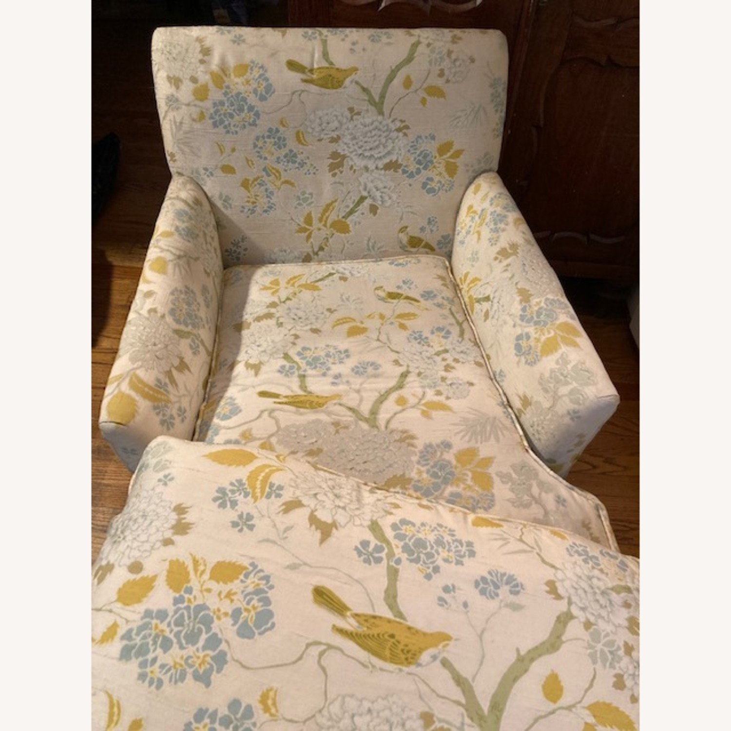 Vintage Chaise Lounge, Bird Floral Pattern - image-2