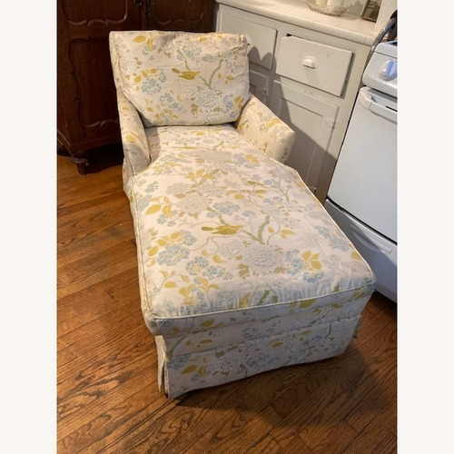 Used Vintage Chaise Lounge, Bird Floral Pattern for sale on AptDeco