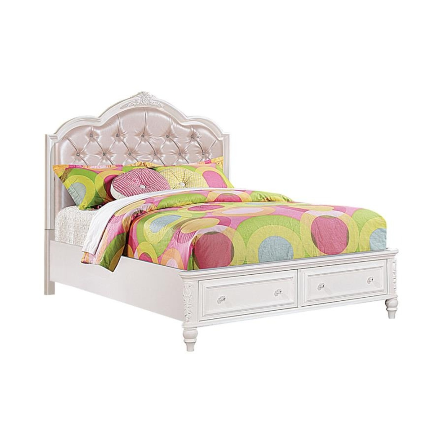 Twin Bed In White Finish W/ Pink Leatherette - image-0