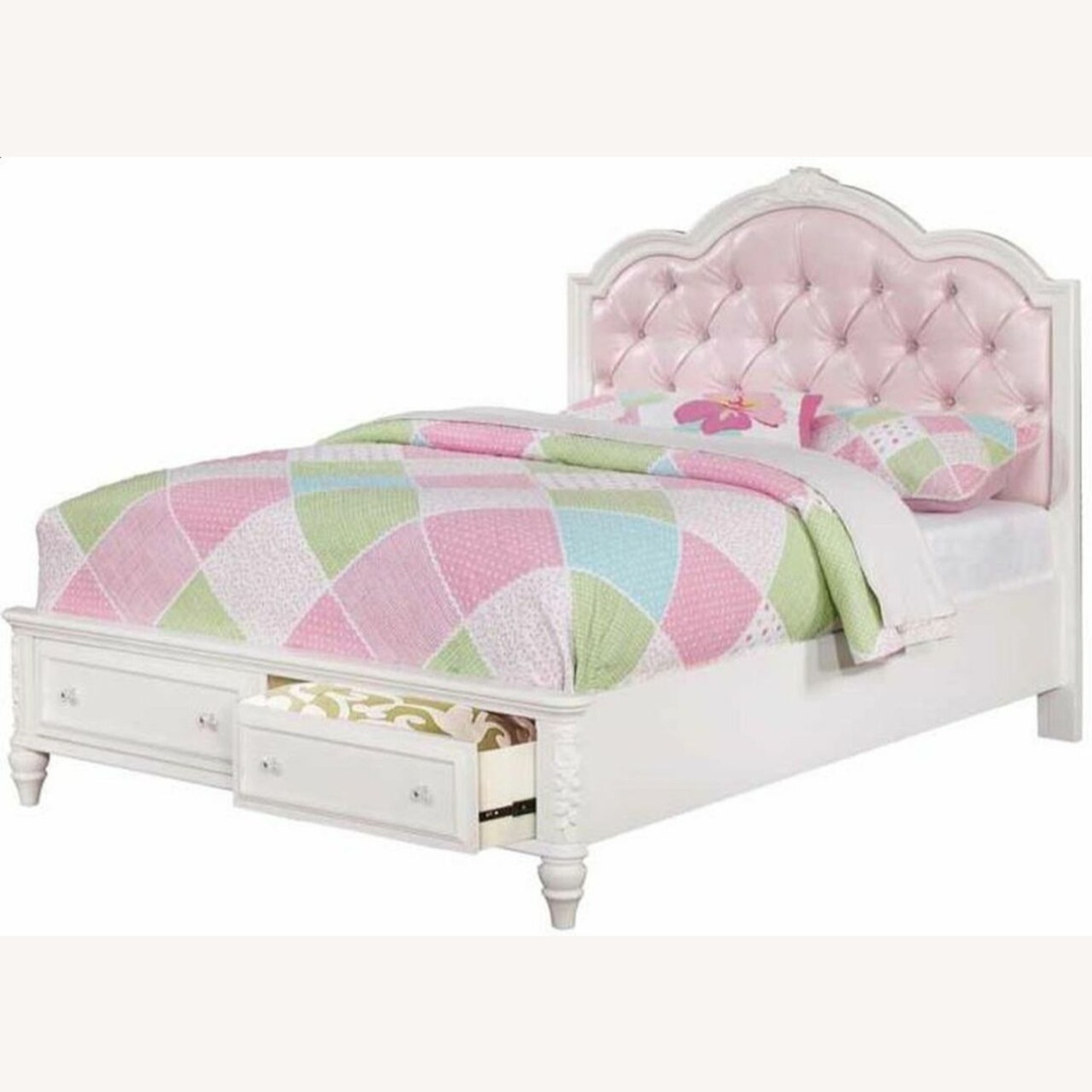 Twin Bed In White Finish W/ Pink Leatherette - image-1