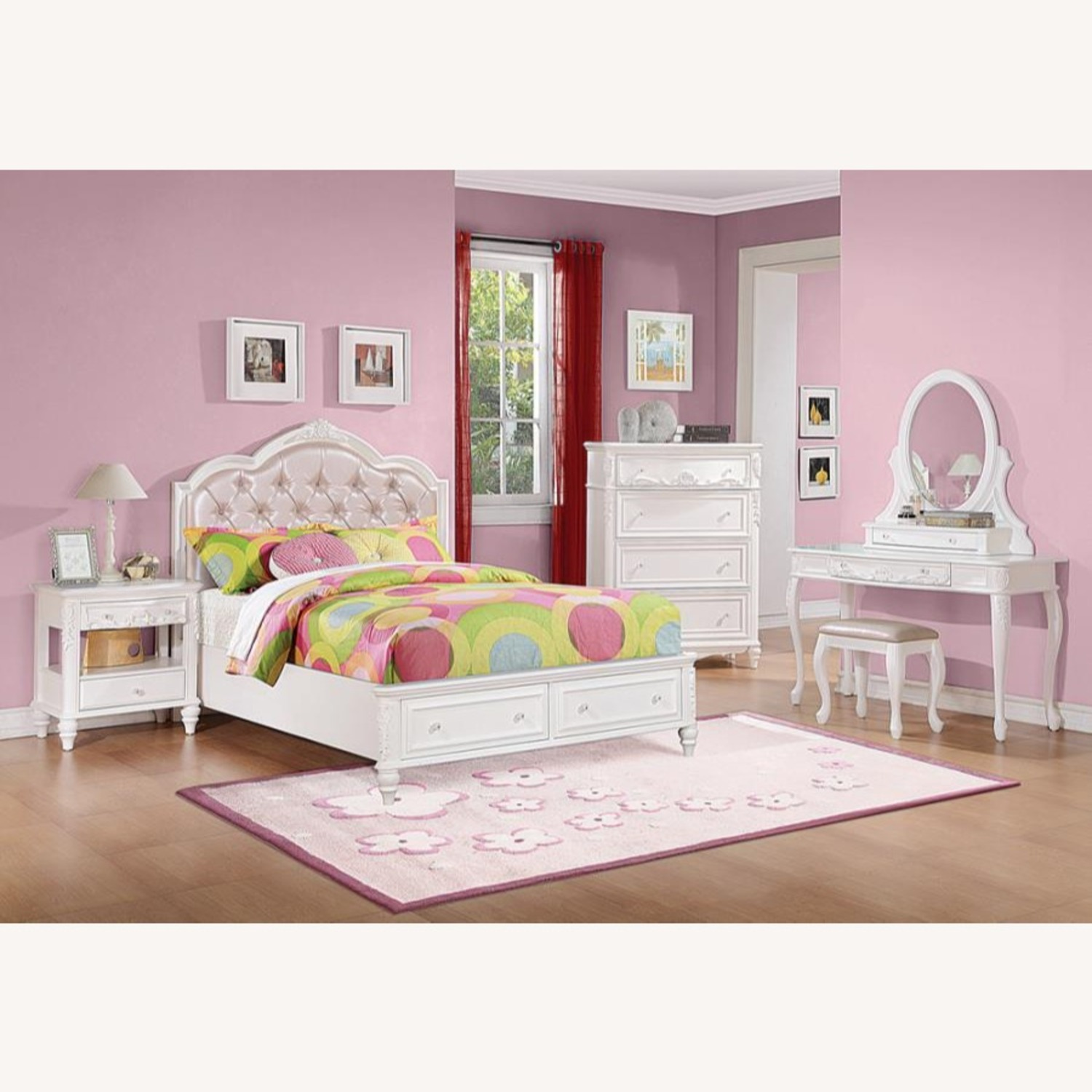 Twin Bed In White Finish W/ Pink Leatherette - image-2