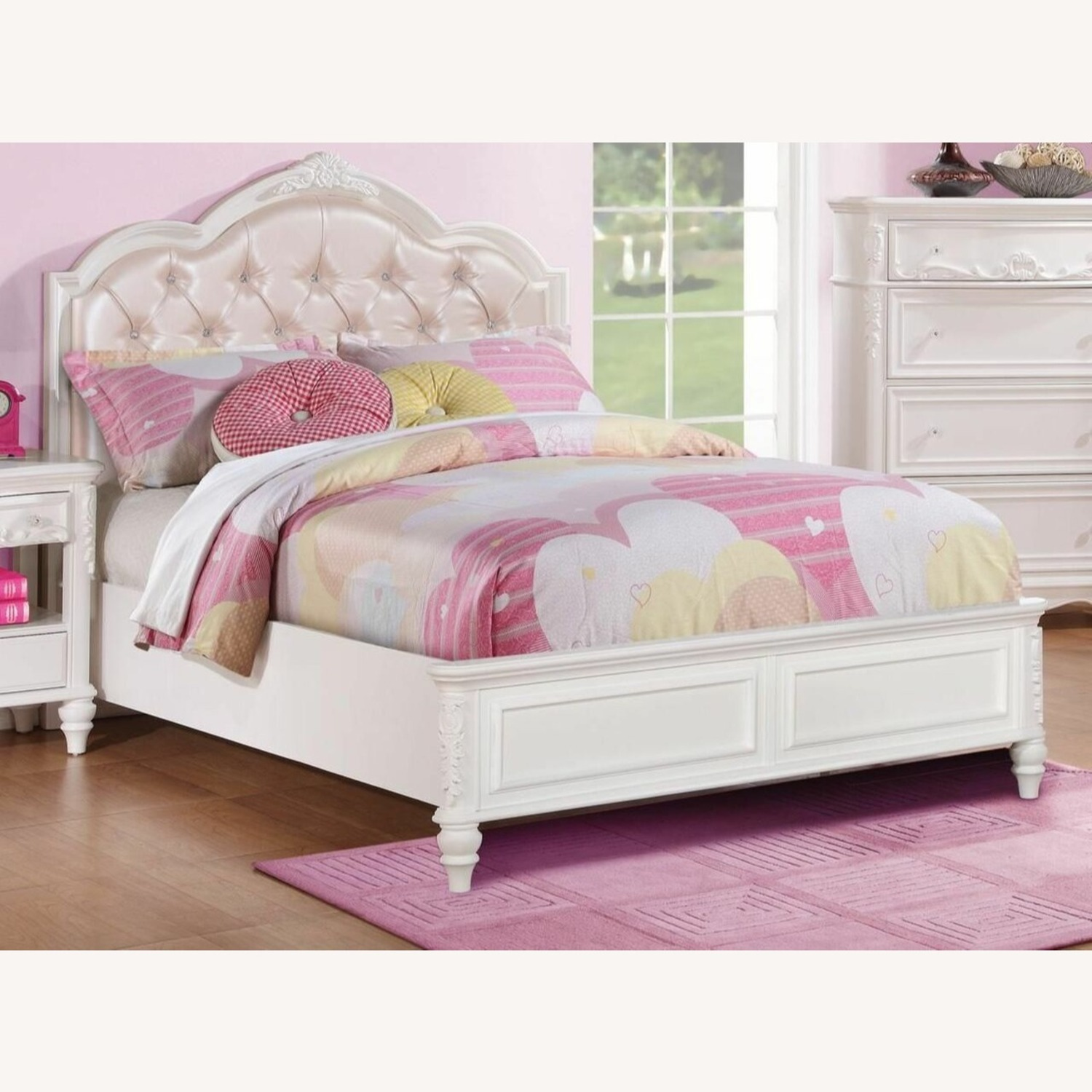 Twin Bed In White W/ Rhinestone Button Tufting - image-2
