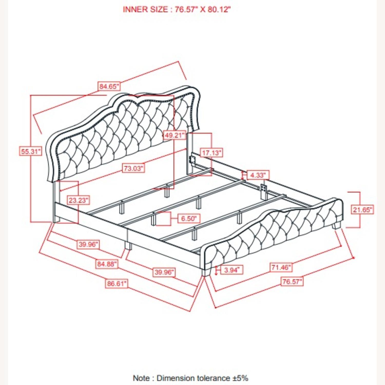 King Bed In Grey Velvet W/ Nailhead Chrome Finish - image-2