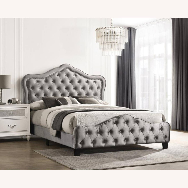 King Bed In Grey Velvet W/ Nailhead Chrome Finish - image-1