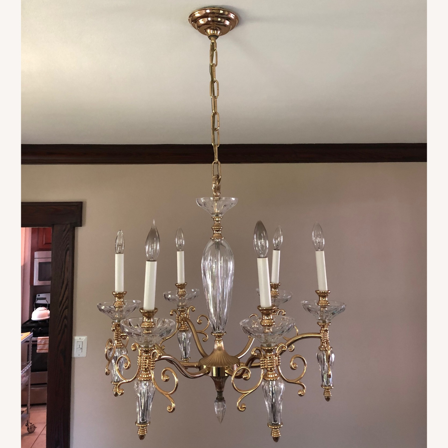 Waterford Crystal & Brass Chandelier - image-1