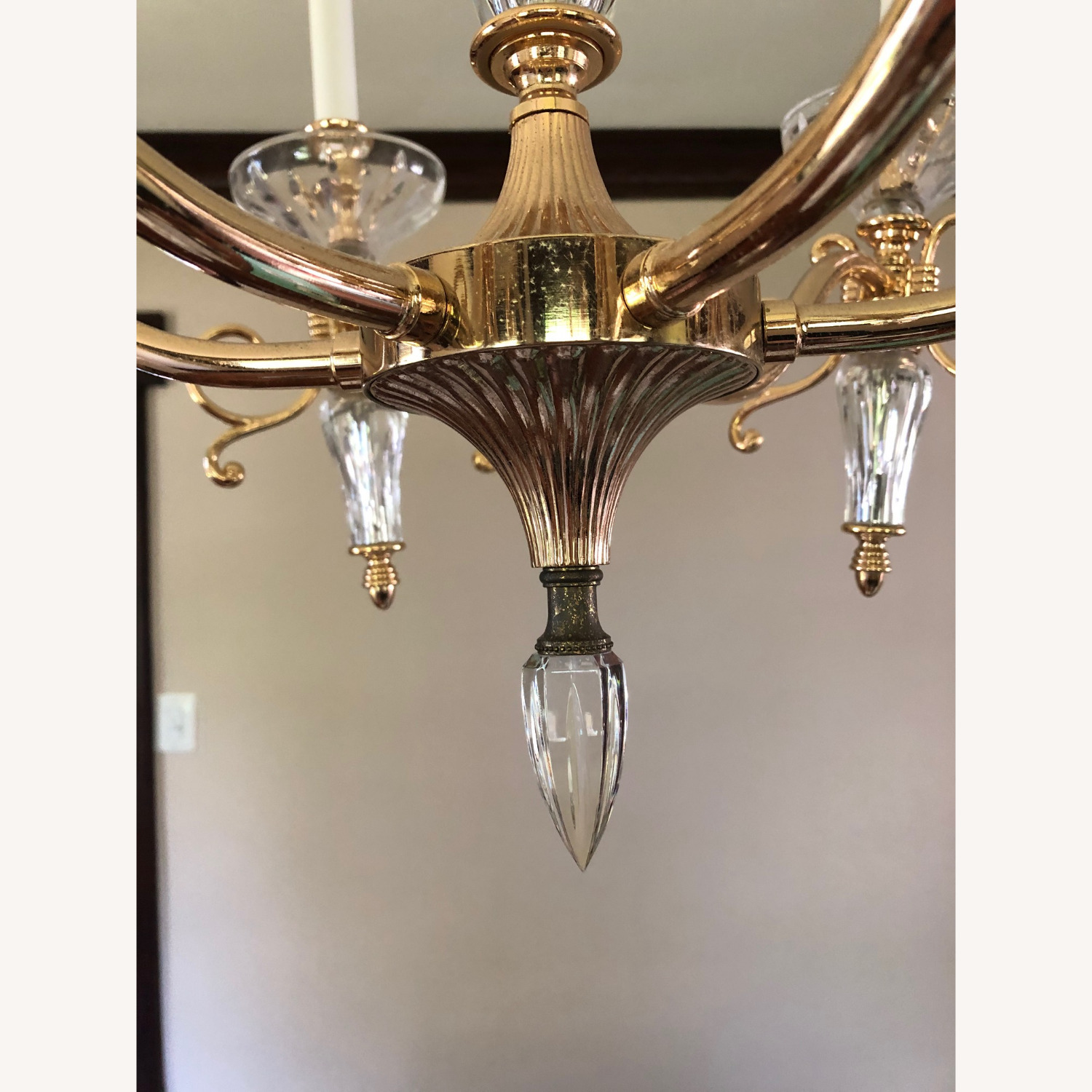 Waterford Crystal & Brass Chandelier - image-5