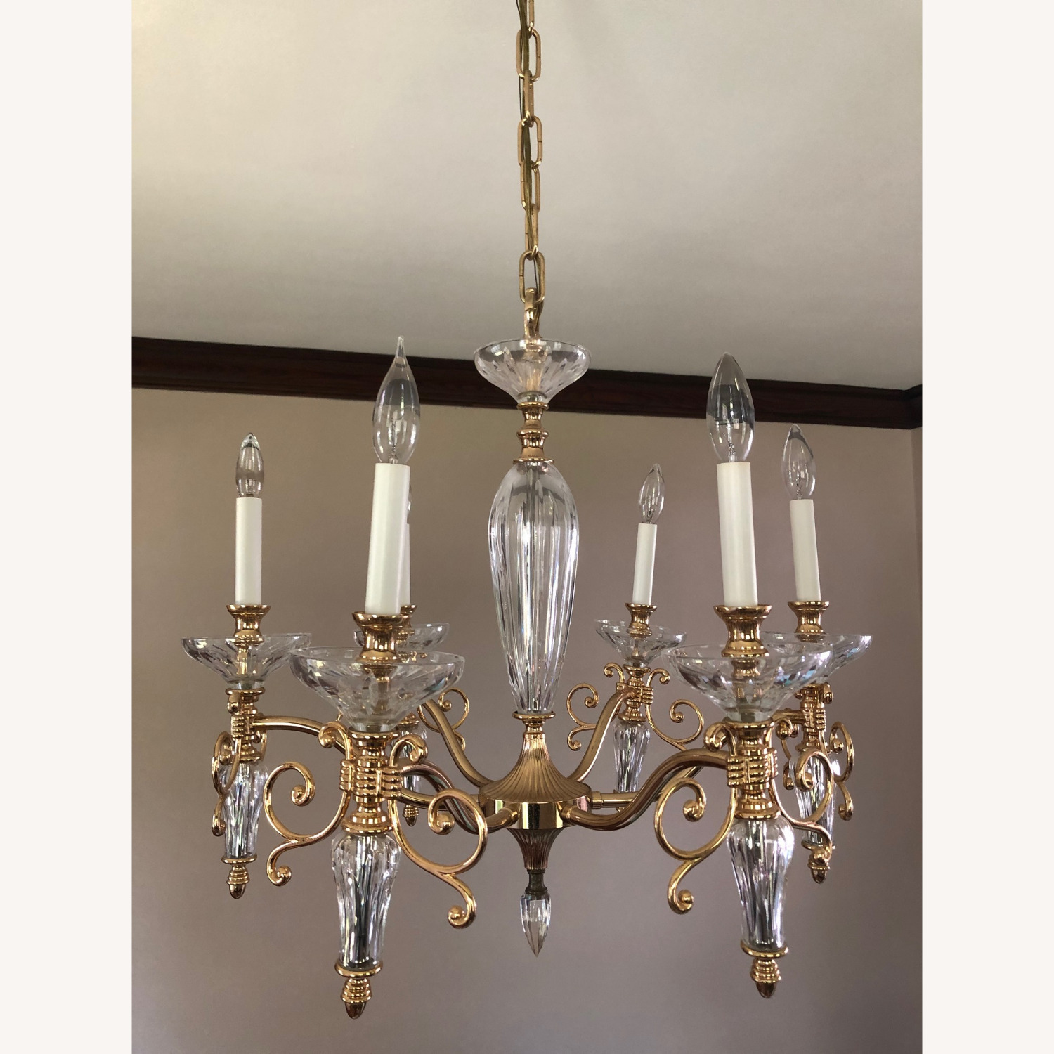 Waterford Crystal & Brass Chandelier - image-2