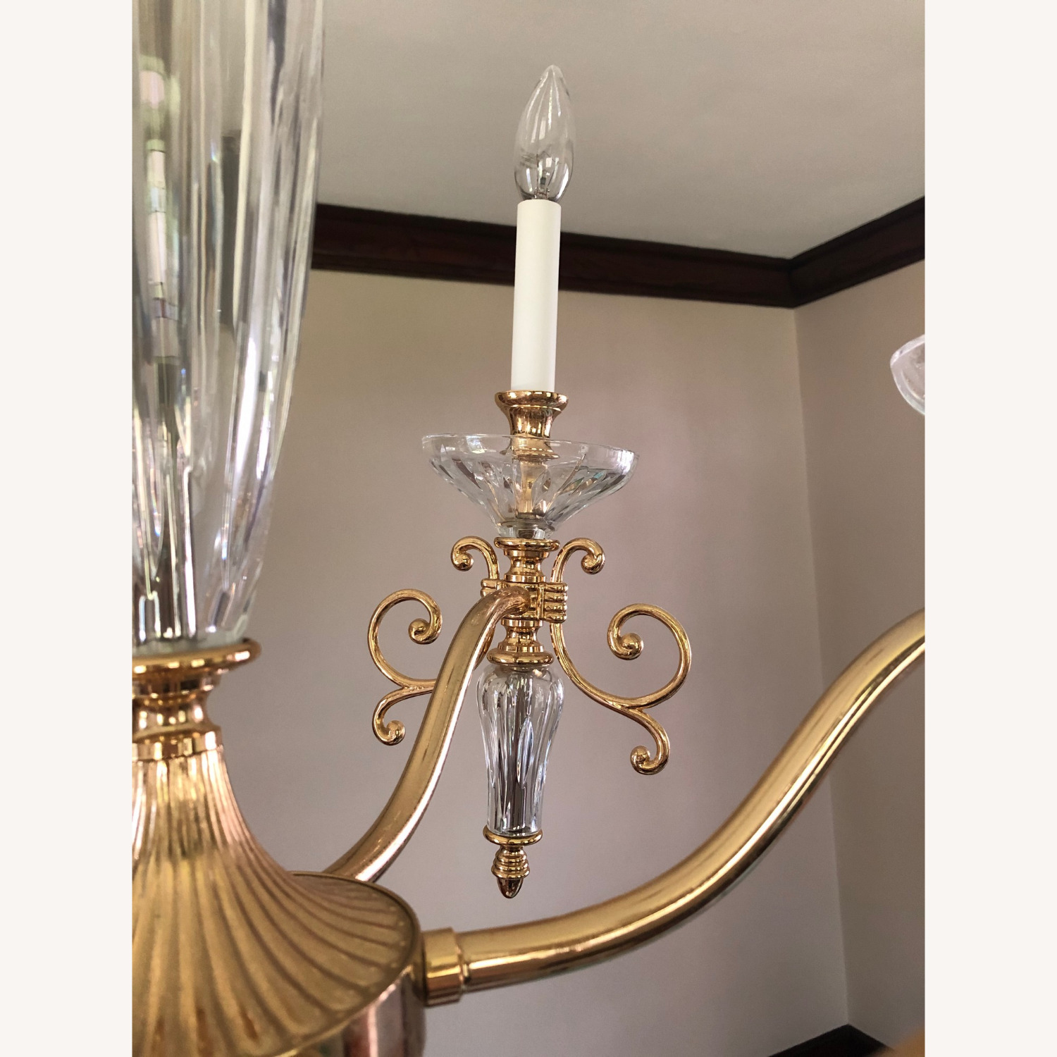 Waterford Crystal & Brass Chandelier - image-4