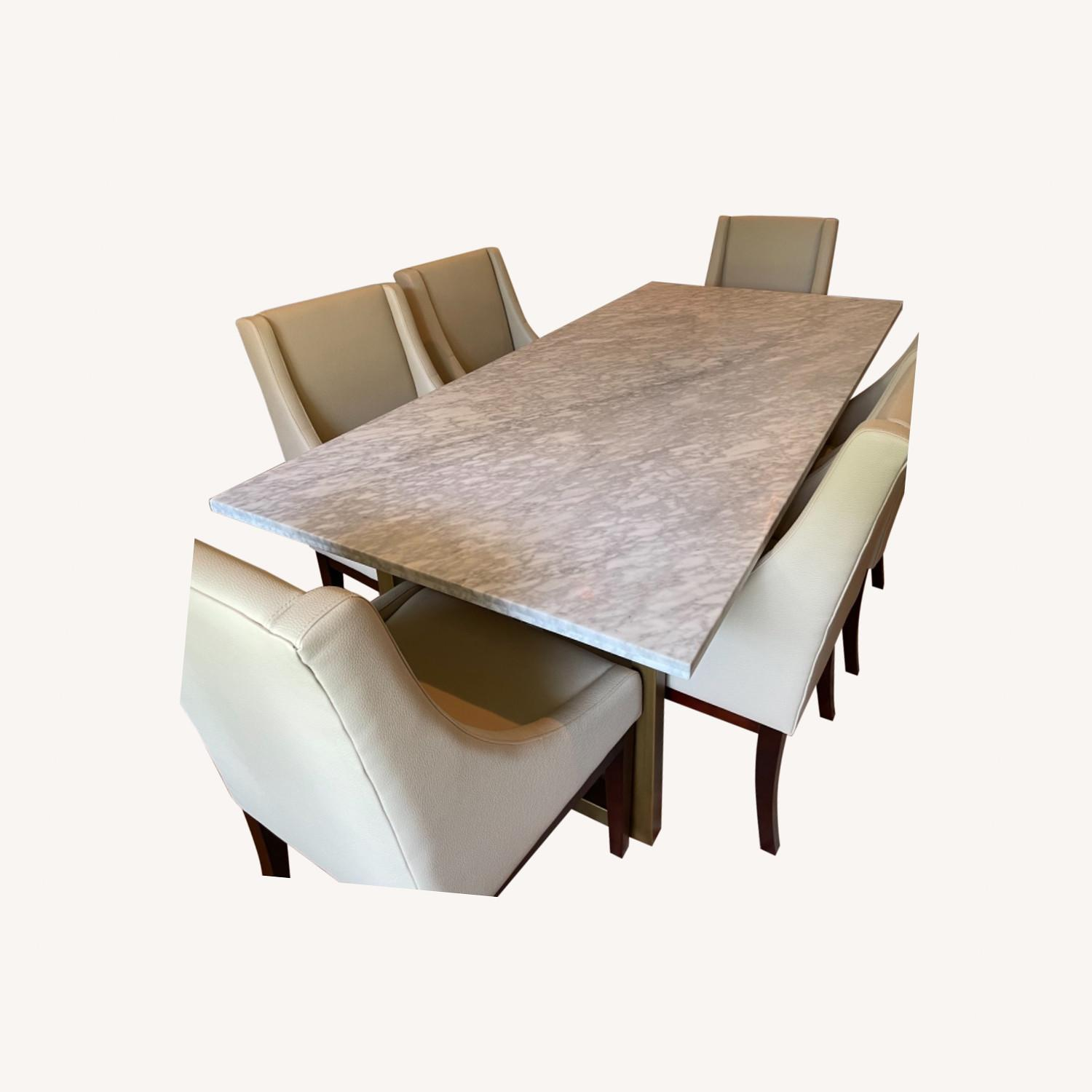 Sonneman Design Group Brush Gold Marble Top Dining Table - image-0