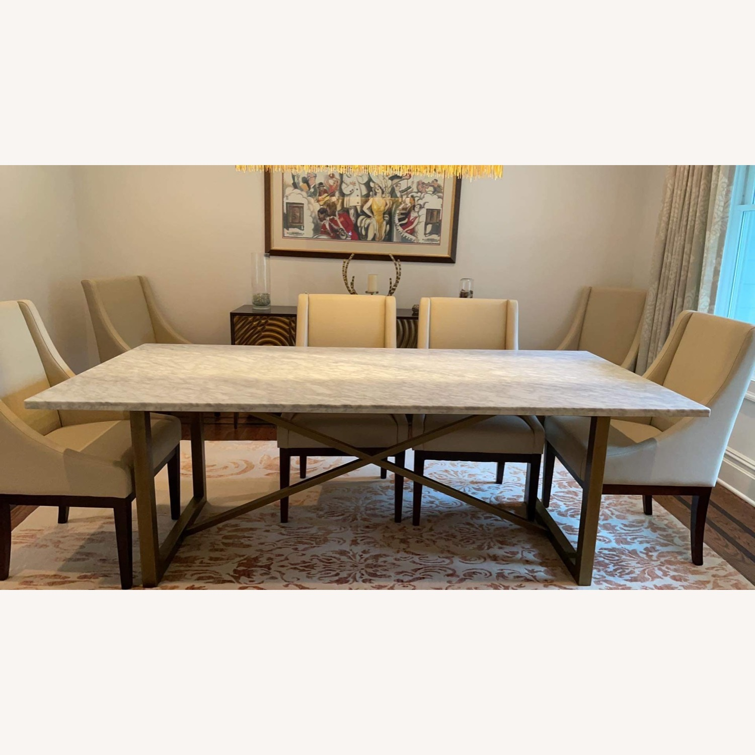Sonneman Design Group Brush Gold Marble Top Dining Table - image-4