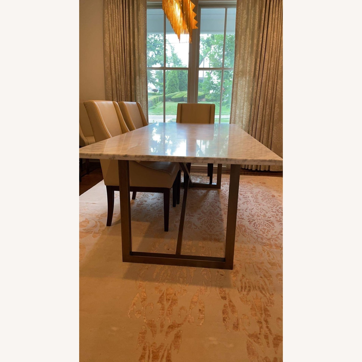 Sonneman Design Group Brush Gold Marble Top Dining Table - image-3