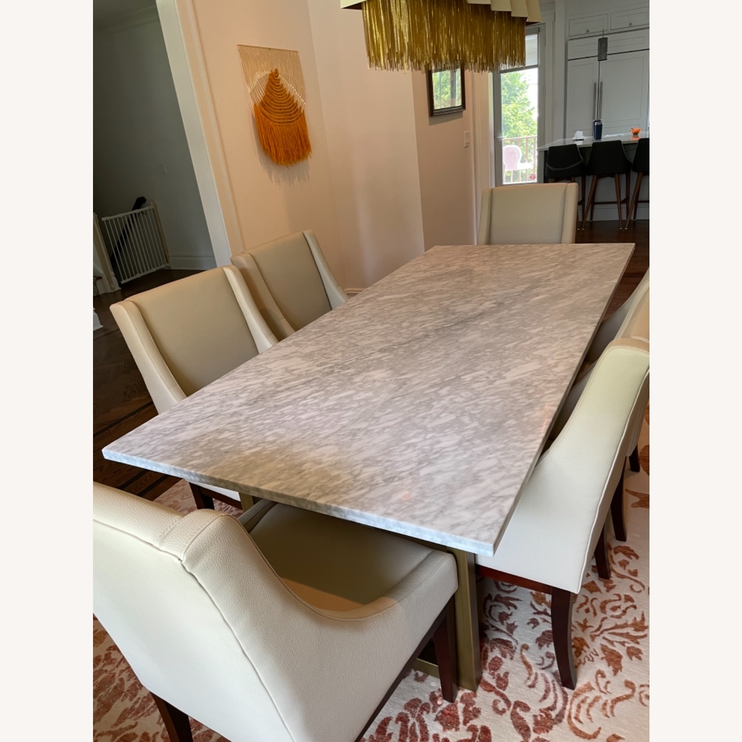 Sonneman Design Group Brush Gold Marble Top Dining Table - image-1