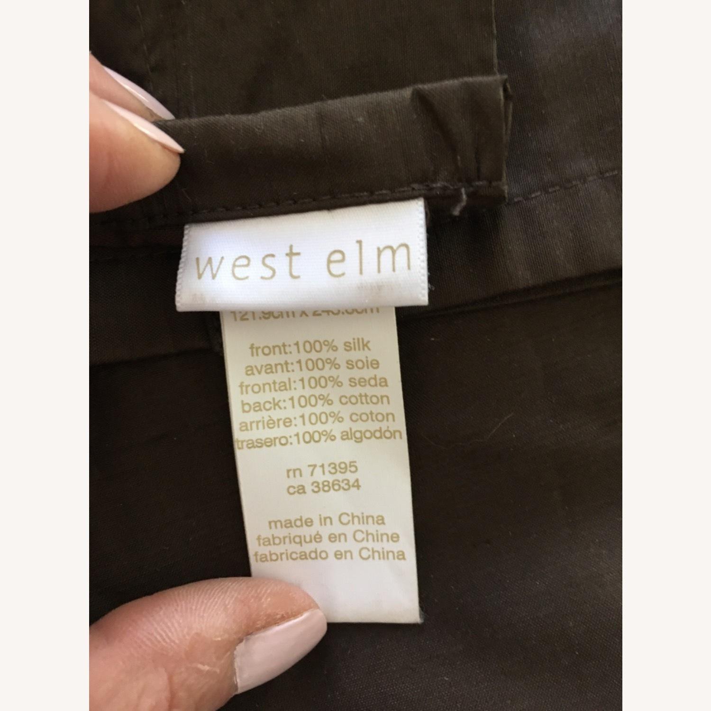 West Elm Set of 2 Pure Silk Mocha Curtains - image-1