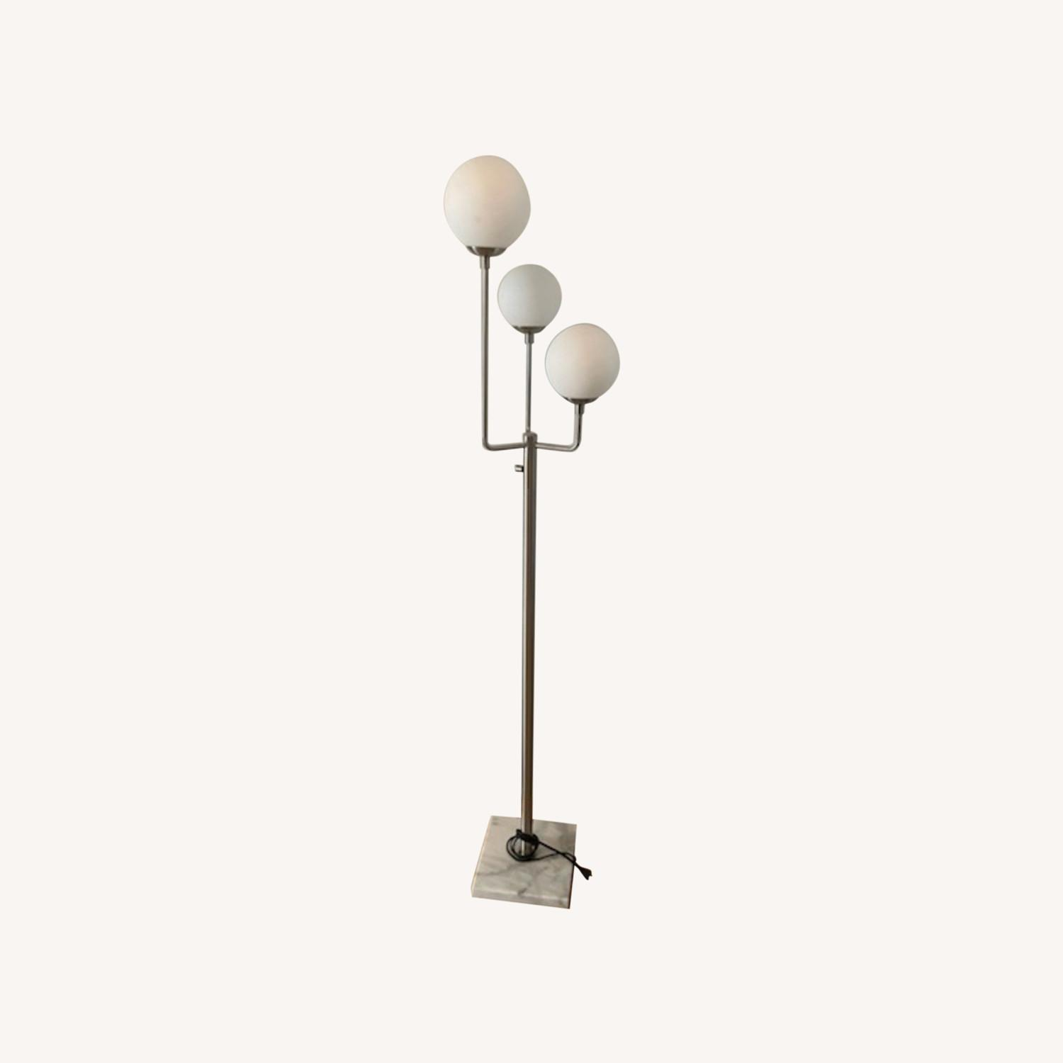 Marble Base Silver Floor Lamp - image-0