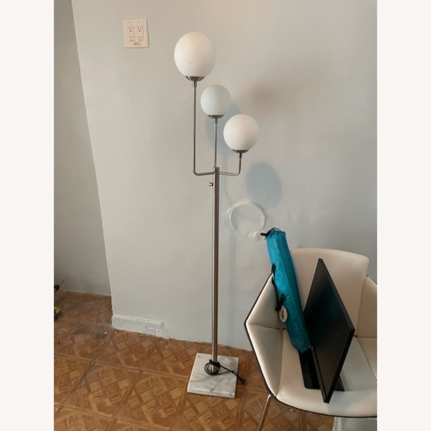 Marble Base Silver Floor Lamp - image-1